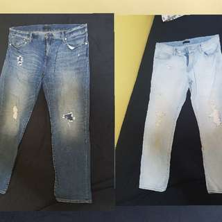 2 pairs Uniqlo Distressed Jeans Sz36