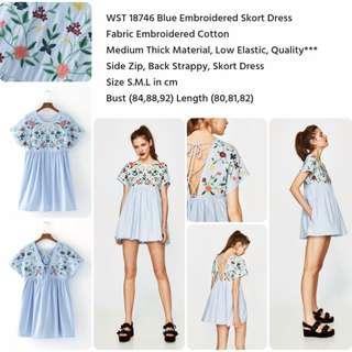Blue Embroidered Skort Dress