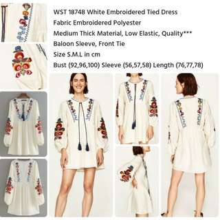 White Embroidered Tied Dress