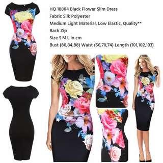 Black Flower Slim Dress