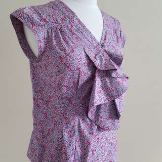 MARC BY MARC JACOBS Floral Blouse with Ruffle and Cap Sleeves