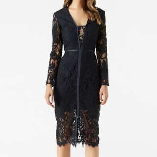 NAVY LACE MIDI DRESS - SIZE 8