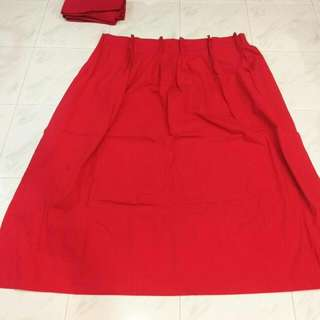 A Pair Of Red Opaque Canvas Curtains