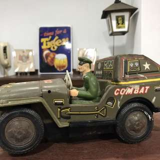 Vintage Made in Japan Tin Toy Army Truck