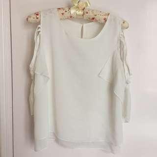 全新 白色 女裝 OL 上衣 斯文款 露肩款 包郵