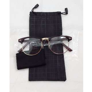 Vintage new Glossy Coffee Dark Brown Glasses Eyewear Clear lens with Gold Rims