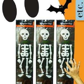 Three (3) Large Halloween Decoration Window Gel Stickers Skeleton Figures
