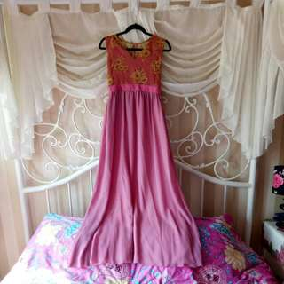Pink Gold Long Dress Gaun Pesta