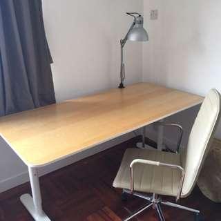 IKEA desk + Aluminium swivel chair