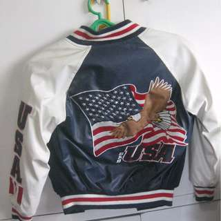 Steve & Barrys USA American Flag Eagle Varsity Jacket Blue White Red