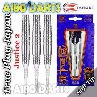Target Darts - True Play Justice 2 80% Tungsten Soft Tip Darts - 18g [Brand New]