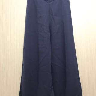 古著/全新深藍色復古藍側邊拉鍊高腰厚雪紡寬褲長褲