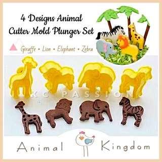 🦁 4PCS ANIMAL DESIGNS  CUTTER MOLD PLUNGER SET [Giraffe•Lion•Elephant•Zebra ] for Cookies • Fondant Cake & Cupcake • Dough • Pastry • Sugar Craft • Clay Art Craft 🦁