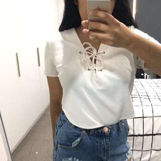 White lace up crop top