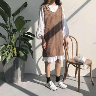 秋裝韓版荷葉邊燈籠袖連衣裙女套裝+中長款針織馬甲背心裙兩件套