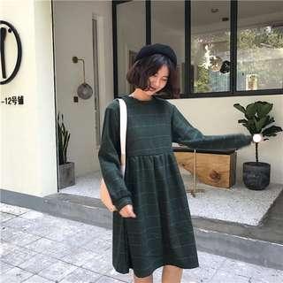 韓國秋冬裝新款複古格子呢料高腰長袖連衣裙