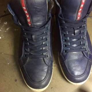 Prada snakers full leather blue