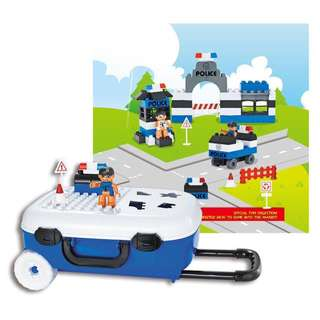 Blue Trolley Bag Luggage for Kids with Lego-like Toys