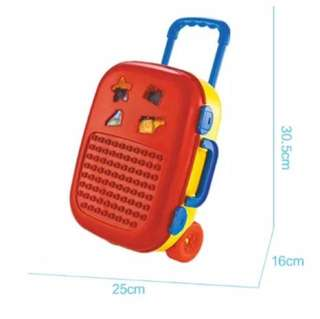 Red Trolley Bag Luggage for Kids with Lego like Toys