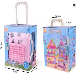 Pink Trolley Bag Luggage Bag for Kids with Lego-like Toys