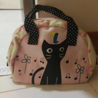 Cosmetic Bag, cat print With Handle (19 x 13 x 8 cm)