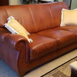 Vintage Walnut Brown Leather Sofa with Rivets