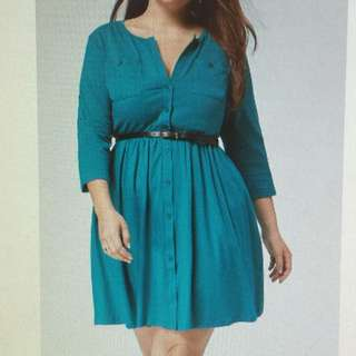 NEW_Plus Size Shirt Dress with Belt