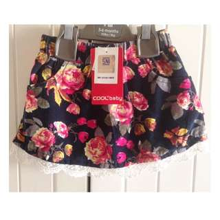 Cool Baby Corduroy Floral Skirt