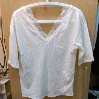 【二手衣櫃】I Select /Ivy Chao自選品牌 白色蕾絲短T