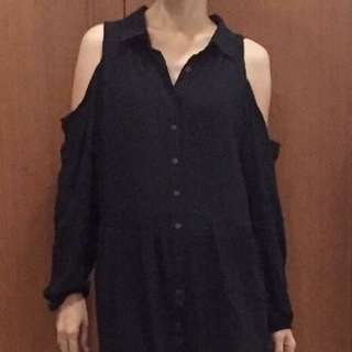 BLACK LONG BLOUSE COTTON ON.