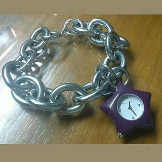 MARC BY MARC JACOBS CHARM BRACELET WATCH-STAINLESS STEEL,PURPLE
