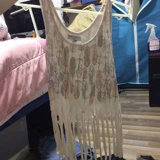 Cotton on fringe crop top