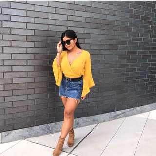 M Boutique yellow wrap crop top
