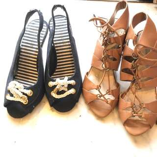 Zara Brown Gladiator Lace Up EU 37 & Primark Nautical Wedges UK 5