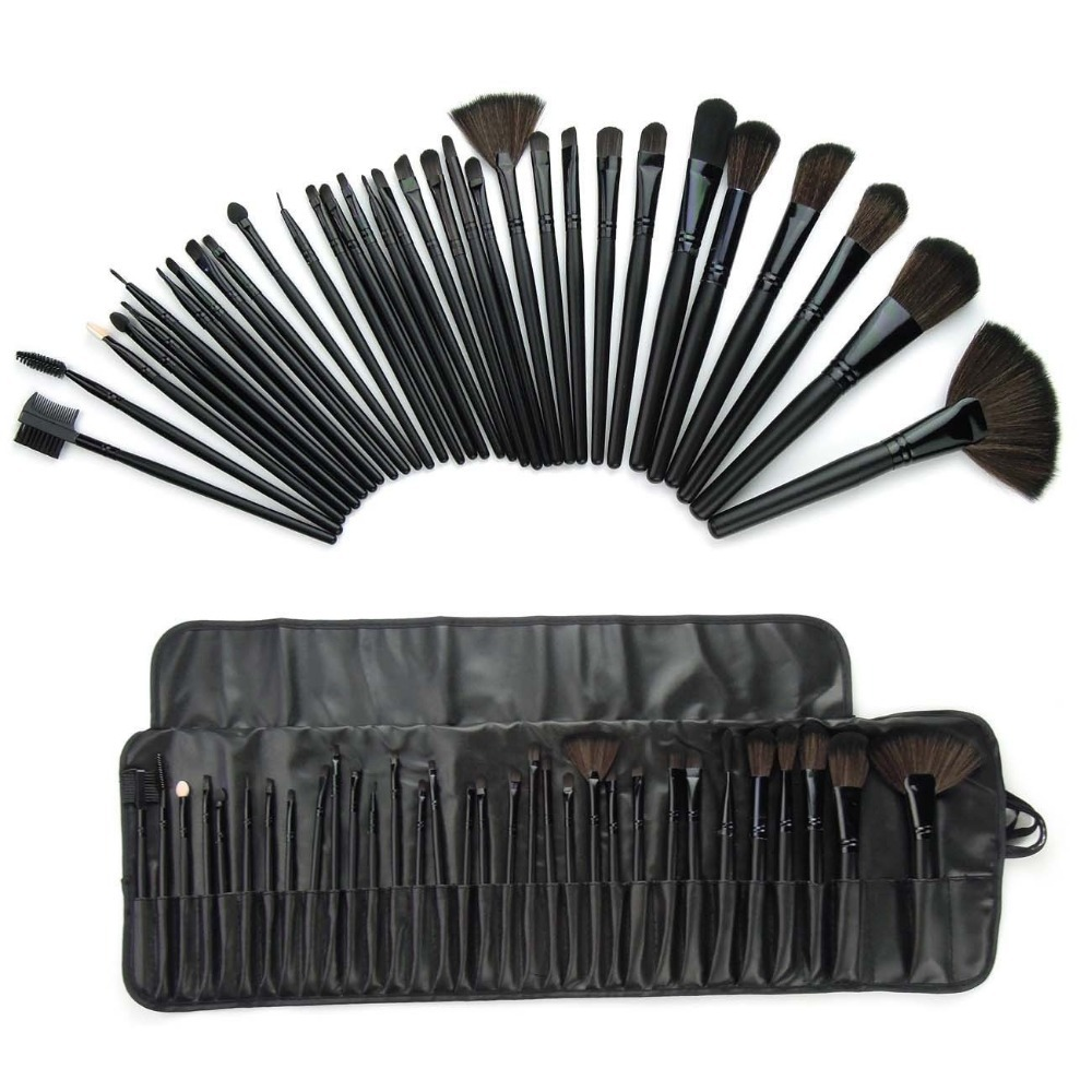 32 pcs professional cosmetic makeup brush set kit with synthetic leather case health beauty. Black Bedroom Furniture Sets. Home Design Ideas