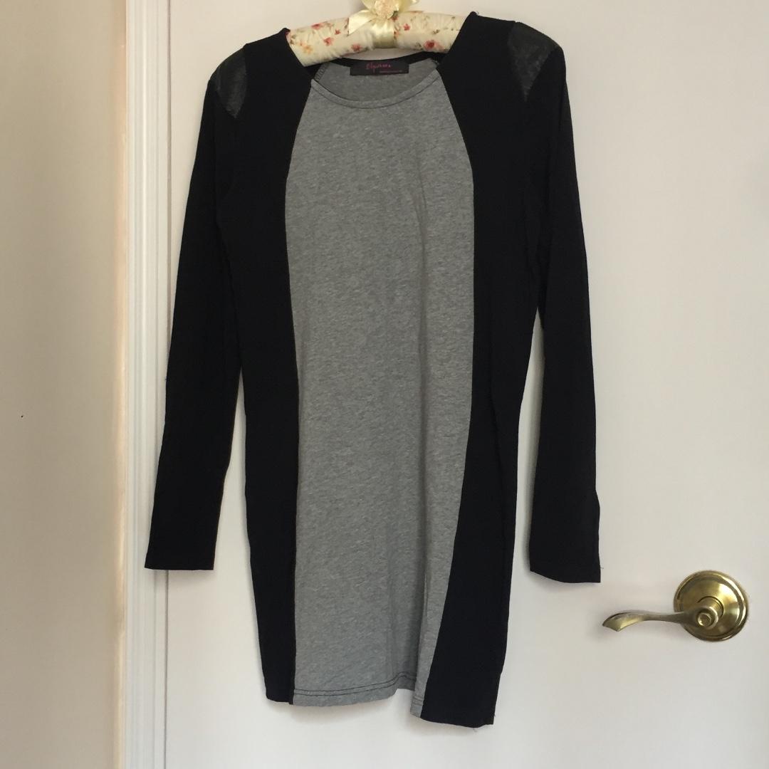 95% New 女裝 長袖 短裙 黑灰色 顯瘦 包郵