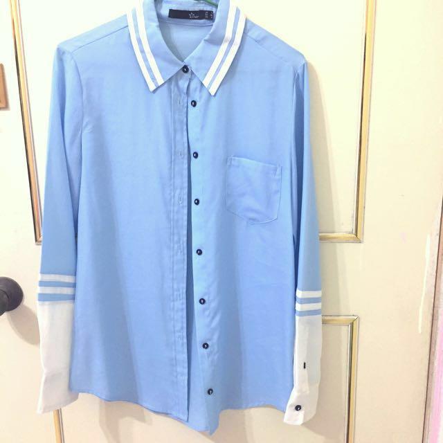 🌟雪紡淺藍白條紋襯衫🏫學院風