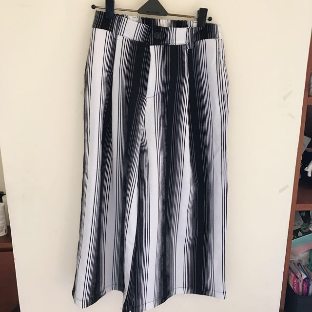 時尚條紋寬褲