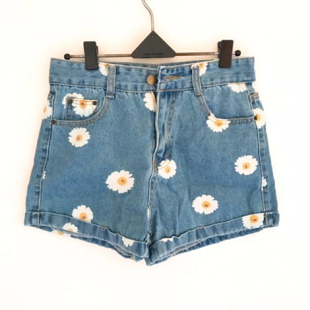 太陽花可愛風牛仔短褲