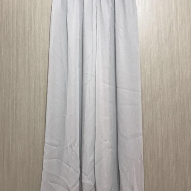 古著/全新淺灰色細細直條紋飄逸雪紡寬褲長褲
