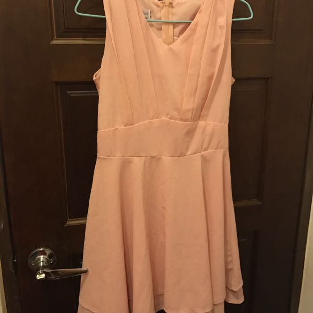 藕粉雪紡洋裝