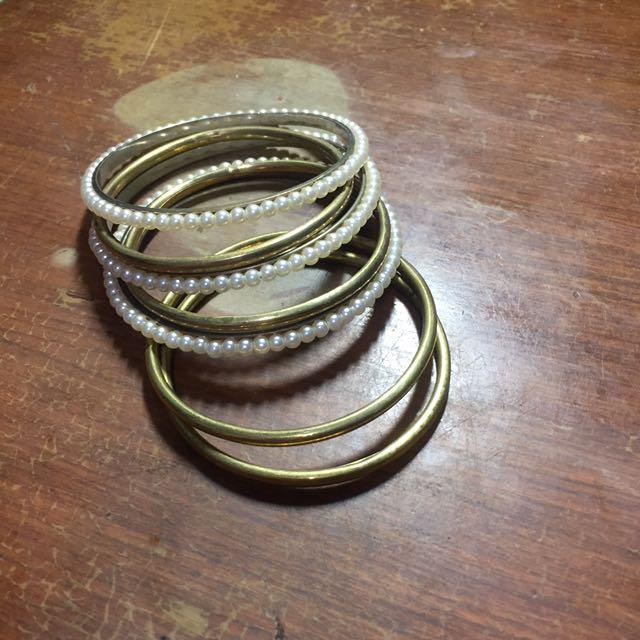 七個一組珍珠黃金手環