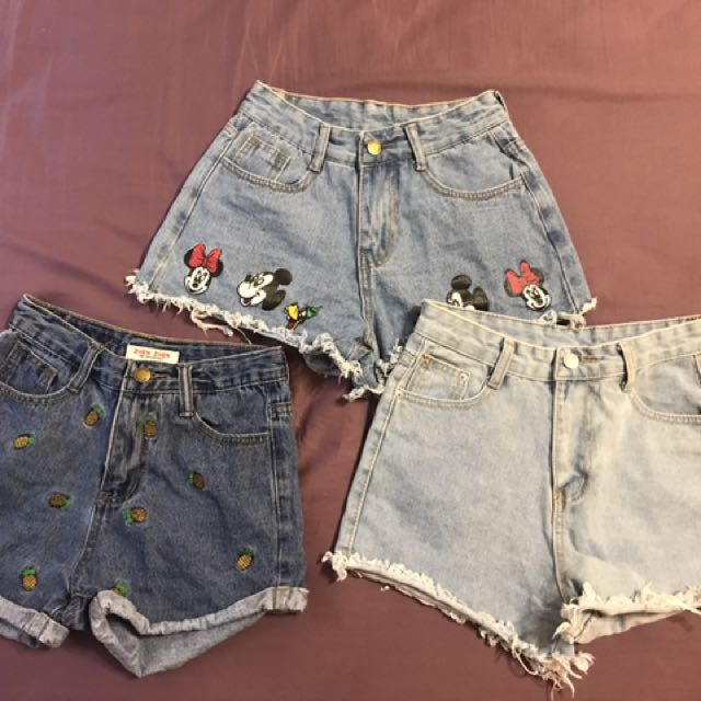 韓版牛仔短褲 高腰 刷破 三件ㄧ起賣