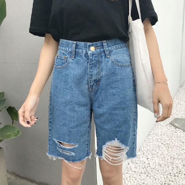 韓版 刷破 藍色 五分褲 牛仔褲