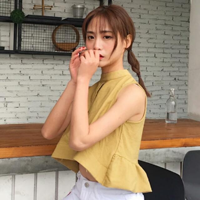 韓版 短版 露肚 無袖 黃色 薑黃 荷葉邊 上衣