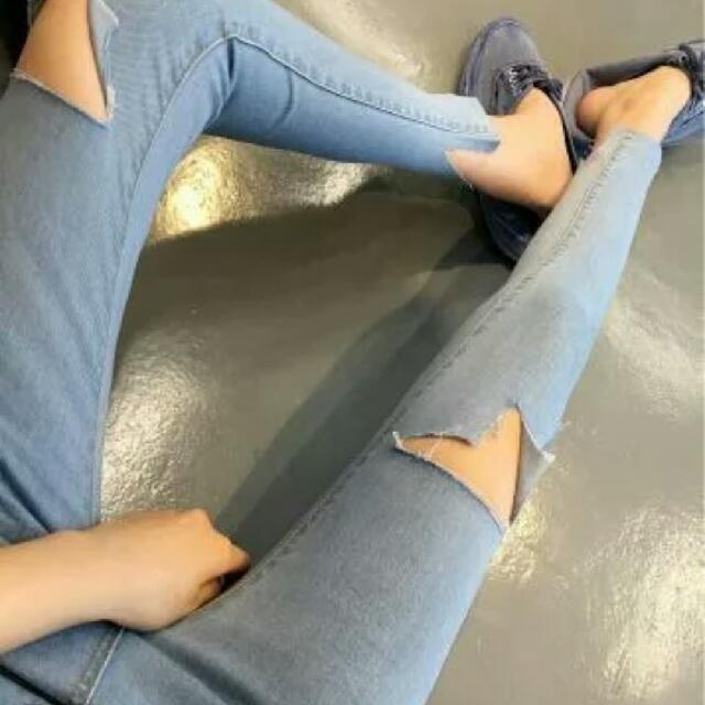 韓版 淺藍 窄褲 緊身褲 牛仔褲 刷破 破洞