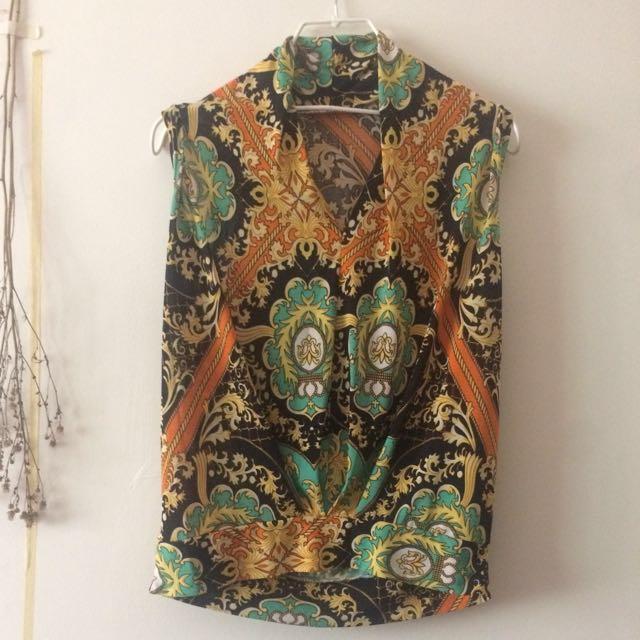 早期 復古 古著 宮廷 巴洛克 華麗 鮮豔 不規則前片設計 褶