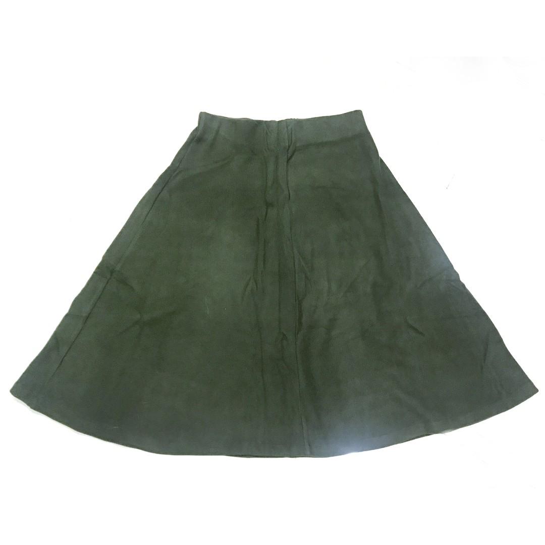 文青風格 🐍 ZARA 針織 鬆緊 過膝裙 A字裙 軍綠色 二手