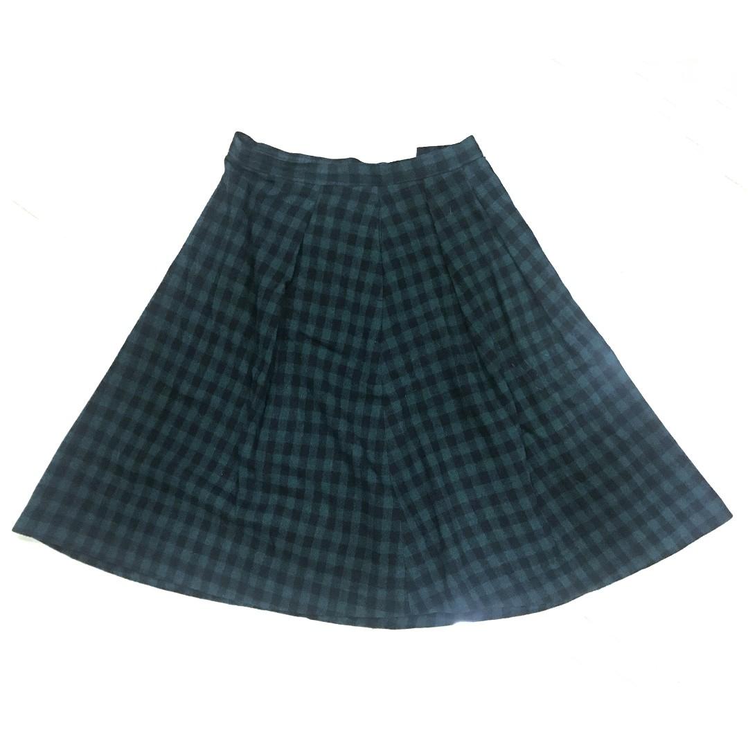 二手🌍 Uniqlo 高質感 羊毛 格紋 綠格 過膝裙 毛呢 氣質 森林 文青