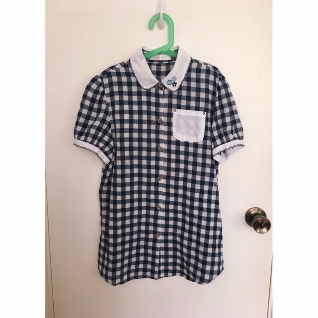 Adorable Gingham Top with Decorative Stitching